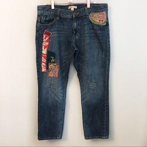 CABI patchwork boyfriend jeans
